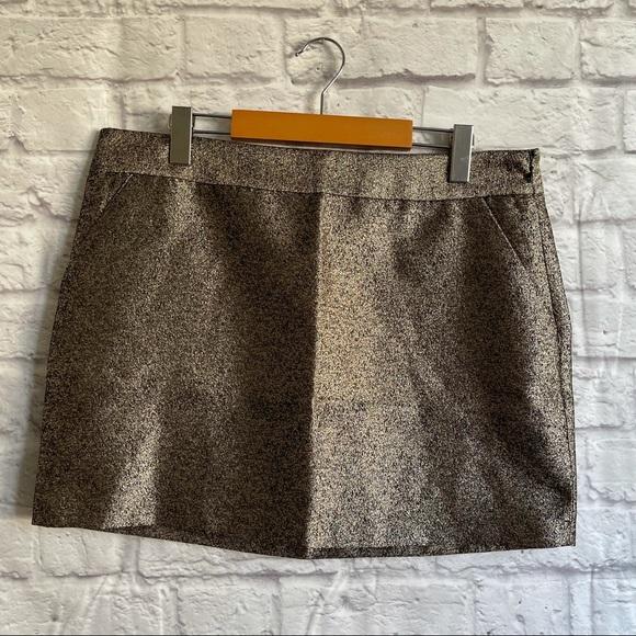 FOREVER 21 Gold Black Metallic Sparkle Mini Skirt